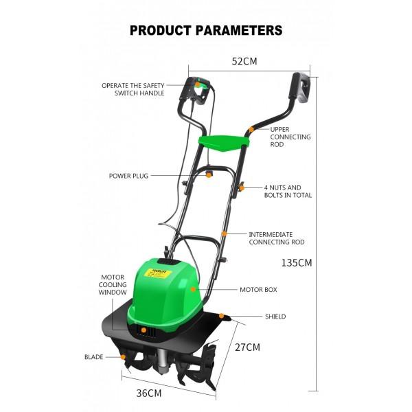 Prekės aprašymas: Elektrinis kultivatorius 1800W RIPPER M83249